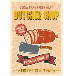 Butcher Shop Retro Style Poster vector image