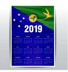 Calendar 2019 christmas island flag background vector
