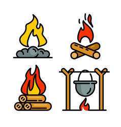 Campfire icons set outline style vector