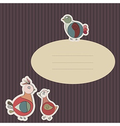 Card with turkey bird and pigeon vector