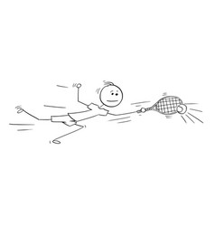 cartoon male tennis player playing returning vector image