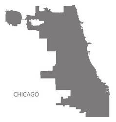 Chicago city map grey silhouette shape vector