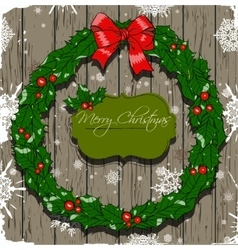 Christmas card with wreath vector