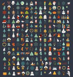 christmas new year holidays icon big set flat vector image