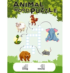 Crossword puzzle with many animals vector image