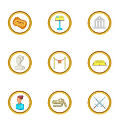 Culture icons set cartoon style vector