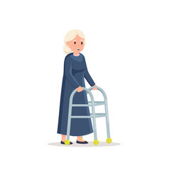 Cute granny with white hair use walker to move in vector
