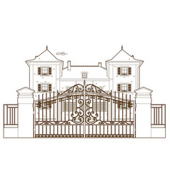 design behind the castle gate vector image
