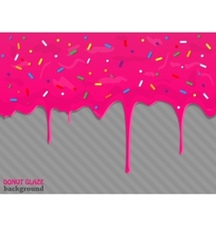 Donut with dripping pink glaze vector