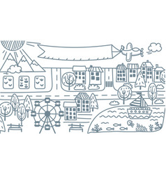 Doodle city map cartoon city isolated vector