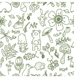 Doodle forest floral seamless pattern with forest vector