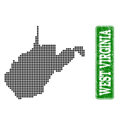 Dotted map of west virginia state and grunge vector