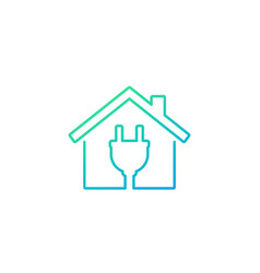 Electricity icon house and electric plug line vector