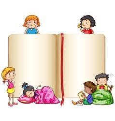 Empty book and children sleeping vector image