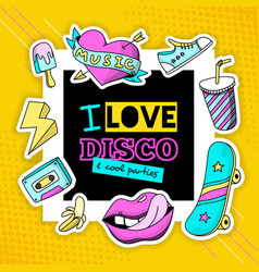 Fashion patch cool disco composition poster vector