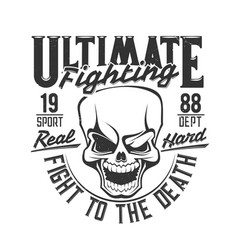 fight club skull t shirt print boxing wrestling vector image