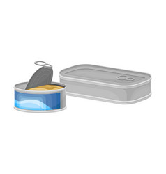 Fish tin or can as manufactured product vector