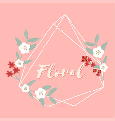 floral flower geometry frame pink background vector image