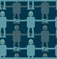 friendly robot seamless pattern retro toy vector image