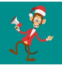 Funny monkey Christmas Santa hat dancing vector image