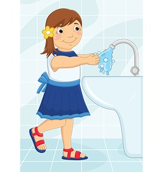 Girl Washing Hands vector