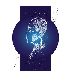Girl with tattoos made of stars against the sky vector
