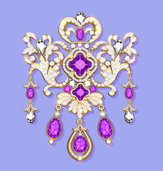 gold brooch with precious stones filigree vector image