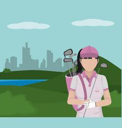 Golf player cartoon vector