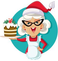 grandma holding christmas cake vector image