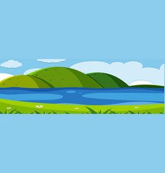green nature mountain view vector image