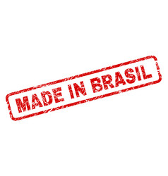 grunge made in brasil rounded rectangle stamp vector image