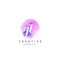 Gt watercolor letter logo design with purple vector