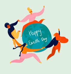 happy earth day holiday group women and globe vector image