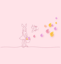 happy easter girl with rabbit ears and basket vector image
