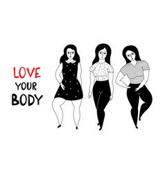 Happy plus size girls vector