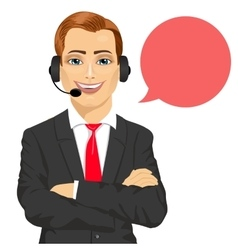 Happy smiling male customer support phone operator vector