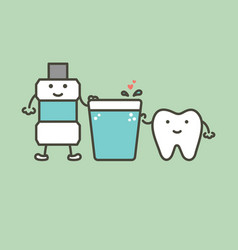 Healthy tooth and mouthwash with heart vector