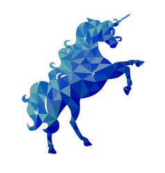 isolated blue unicorn in low poly style on a vector image