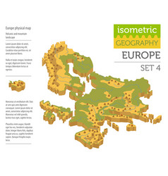 isometric 3d europe physical map constructor vector image