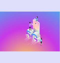 isometric new 5g wireless network next vector image