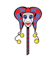 Joker mask on a stick vector