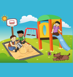 Kids playing in the playground vector