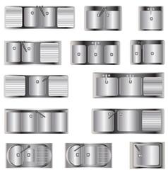 Kitchen Equipment Sinks top view set 2 vector image