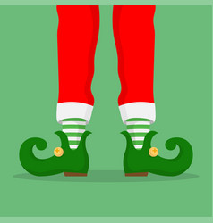 legs christmas elf in green shoes with bells vector image