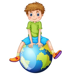 Little boy sitting on blue planet vector