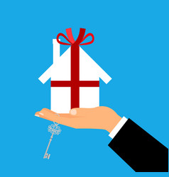Man holding paper gift house vector