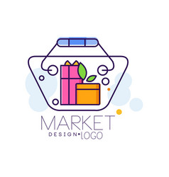 market logo design bright sale badge label vector image