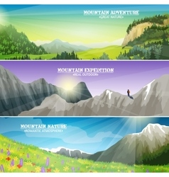 Mountains Landscape Flat Horizontal Banners Set vector