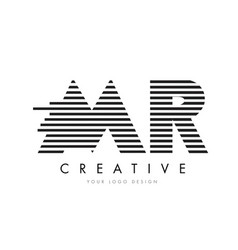 mr m r zebra letter logo design with black and vector image
