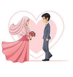 Muslim bride and groom looking at each other vector